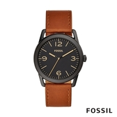 FOSSIL Ledger 咖啡色簡約皮革手錶 42mm BQ2305