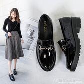 布洛克女鞋厚底英倫小皮鞋女平底百搭韓版平跟漆皮單鞋女 格蘭小舖