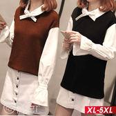 假兩件針織拼接襯衫排釦洋裝 XL-5XL O-ker歐珂兒 151802-1