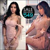 克妹Ke-Mei【ZT43604】浪漫巴里島 高檔電繡水溶蕾絲露肩蝴蝶結連身洋裝
