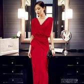 禮服裙長款紅色高貴優雅端莊大氣聚會連身裙  創想數位igo