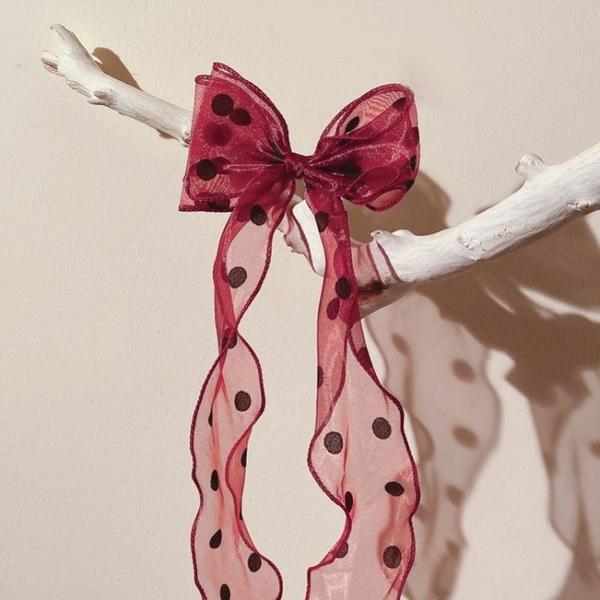 歐陽娜娜同款發帶蝴蝶結扎頭絲帶長飄帶超仙法式頭繩女綁仙女森系