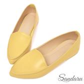 訂製鞋 簡約皮革尖頭休閒鞋-黃色下單區