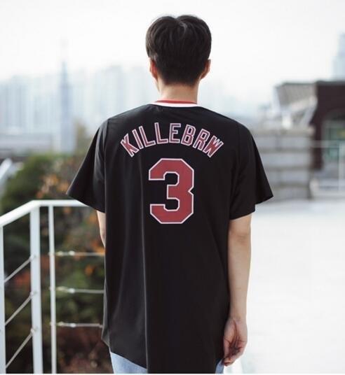 FINDSENSE 品牌 時尚休閒 男士 後背 數字3印花 短袖T恤