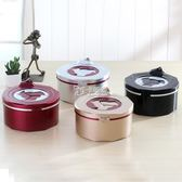 桌面垃圾桶 創意歐式家用 臥室客廳帶蓋開關式塑料烤漆垃圾筒紙簍 卡菲婭