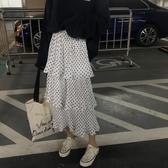蓬蓬裙春裝韓版超仙的蛋糕裙高腰波點百摺裙半身裙中長款蓬蓬裙女【】