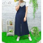 【ef-de】漢神春夏 細肩帶連身長版吊帶褲裙(黑/藍)