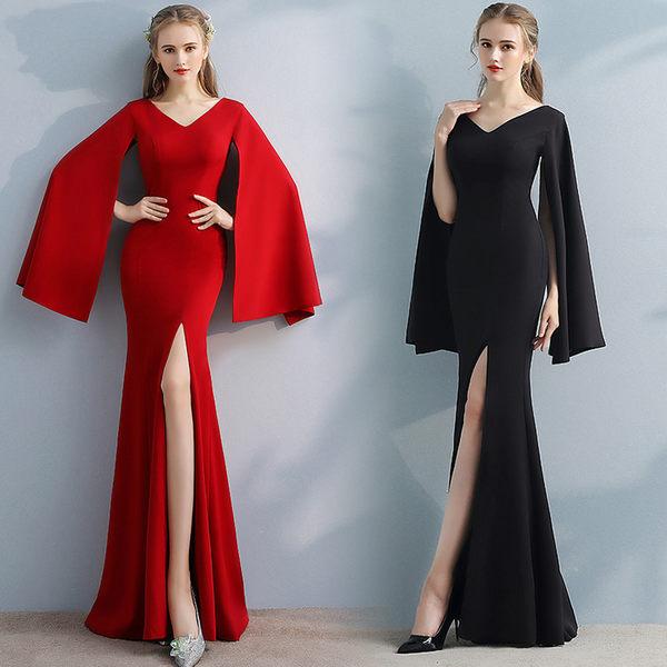 買一送一 歐美風新款魚尾長款高貴優雅晚禮服宴會長袖洋裝