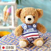 Hamee 日本製 手工 藍色海軍 吊帶褲 絨毛娃娃 玩偶禮物 泰迪熊 (棕色/S) 640-199201