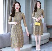 改良式旗袍 顯瘦大碼連身裙中國風年輕少女氣質碎花蕾絲裙 rj785『黑色妹妹』