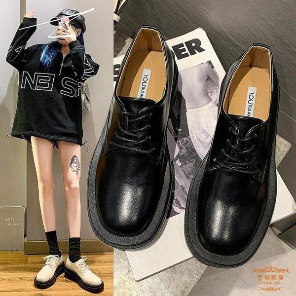 牛津鞋 2021春秋新款英倫風小皮鞋女粗跟黑色復古厚底牛津鞋繫帶中跟單鞋