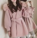 冬季新款粉色毛領小個子加厚毛呢外套女中長...