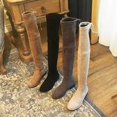 膝上靴過膝靴 米色過膝長靴女2018冬季新款平底內增高顯瘦網長筒靴高筒瘦瘦靴艾维朵 全館免運