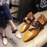 復古帶扣淺口涼鞋 米蘭shoe