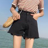 【首爾】黑色牛仔短褲女夏新款chic正韓寬鬆學生百搭a字高腰熱褲潮ins