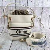 BRAND楓月 CHLOE 白色 Roy Mini 印字LOGO 束口 小水桶 斜背 手提 兩用包