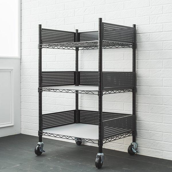 收納架/推車 60X45X90cm 廚房推車收納架 (含圍籬組 透白PP板 工業輪)  dayneeds