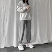 灰色運動褲女春季年新款寬鬆束腳收口顯瘦百搭直筒網紅衛褲潮 【年終盛惠】