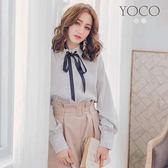 東京著衣【YOCO】輕甜學院風條紋立領蝴蝶結綁帶襯衫-S.M.L(180138)