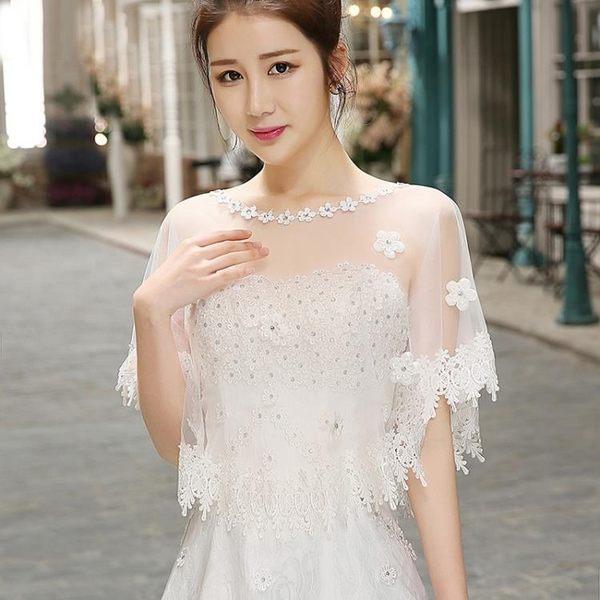 新娘披肩正韓加大碼婚紗禮服鑲鑚蕾絲披肩紅白色薄紗斗篷