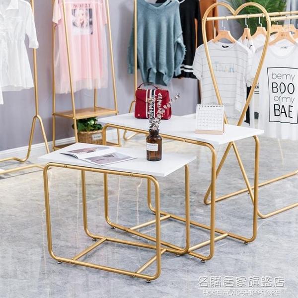 服裝店中島架雙排展示架男女裝童裝金色中間貨架雙杠側掛衣架簡約 NMS名購新品