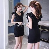 夜店性感包臀v領洋裝顯瘦遮肚減齡荷葉邊女人味高檔女裝裙短款