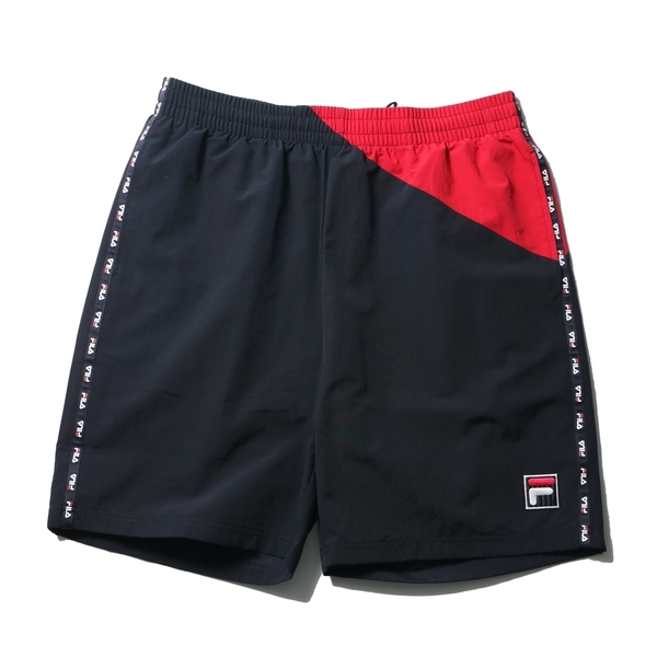 FILA 短褲 深藍紅 拼接 側邊串標 短褲 休閒 運動褲 男 (布魯克林) 1SHV1443NV
