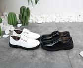 男童皮鞋兒童鞋綁鞋帶貼扣黑色男孩子學生學校演出禮儀小皮鞋 伊衫風尚