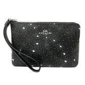 【COACH】燙印LOGO PVC皮革滿版星星手拿包零錢包(黑)