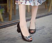 魚嘴鞋-魚嘴涼鞋夏季新款韓版粗跟高跟鞋舒適潮款女士復古單鞋休閒鞋 多莉絲旗艦店