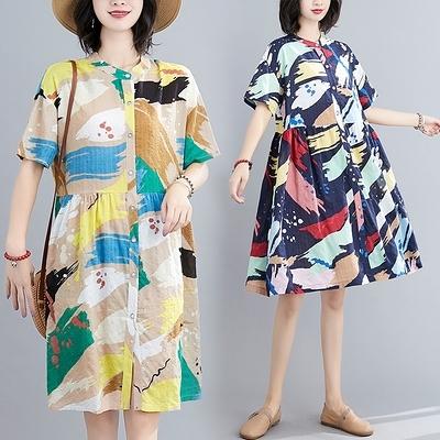 胖妹妹大碼洋裝連身裙~棉麻洋裝~韓版抽象印花寬松顯瘦大碼女裝立領短袖連身裙MC062胖妹大碼女裝