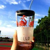 透明簡約玻璃杯子創意水杯加厚茶杯耐熱大容量辦公茶杯帶蓋勺吸管