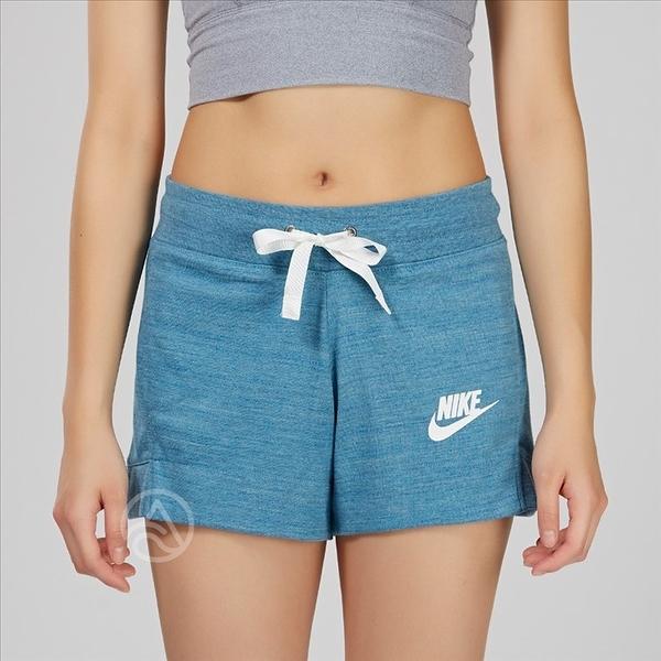 Nike NSW GYM CLC SHORT 女子 水藍色 棉質 健身 運動 短褲 884363-449