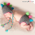 童裝 嬰兒攝影寫真毛線針織彩色恐龍造型 二件組