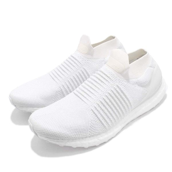 adidas 慢跑鞋 UltraBOOST Laceless 白 全白 運動鞋 無鞋帶 舒適緩震 襪套式 男鞋【PUMP306】 BB6146