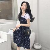韓版打底衫短袖T恤 小清新碎花雪紡吊帶裙連衣裙女兩件套   琉璃美衣