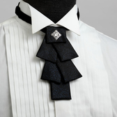 vivi領帶家族 -〉MIT男仕配件之 //造型領結 結婚、伴郎正式領結119-6黑底藍銀