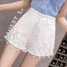 白色牛仔短褲女2021夏季新款韓版高腰闊腿褲重工刺繡串珠破洞熱褲 『小淇嚴選』