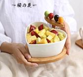 創意干果盤陶瓷沙拉碗帶果叉家用水果盤碗盆北歐用品餐具點心盤【櫻花本鋪】