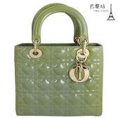 【巴黎站二手名牌專賣店】*現貨*Christian Dior 真品*經典Lady dior 格紋兩用黛妃包(綠)