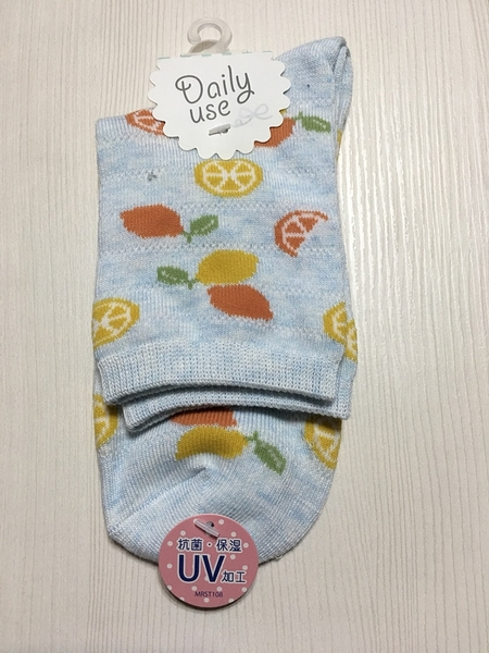 【京之物語】日本帶回Daily use抗菌保溼藍色繽紛水果女性短襪