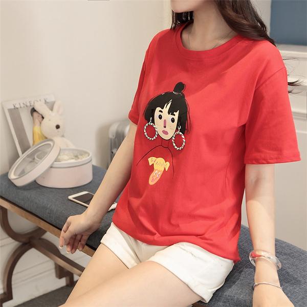 [超豐國際]夏裝學生卡通T恤女短袖圓領百搭休閑打底衫寬松上衣1入