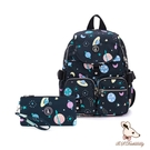 B.S.D.S冰山袋鼠 - 楓糖瑪芝 - 經典大容量插袋後背包+零錢包2件組 - 星球黑【0015+3025KK】