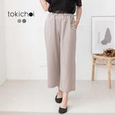 東京著衣-tokichoi-質感百搭直條紋抽繩鬆緊寬褲-S.M.L(190681)