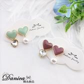 現貨不用等 韓國女神氣質甜美愛心珍珠寶石不對稱925銀針耳環 S93429 批發價 Danica 韓系飾品