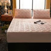 限定款鋪棉單床包/雙人珊瑚絨床包單件150x200公分加厚舖棉保暖席夢思床墊套保潔墊