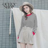 Queen Shop【01095533】配色滾邊條紋坑條上衣 兩色售 S/M