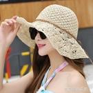 夏天女士手工草帽海邊防曬太陽帽 韓版可折...