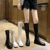 馬丁靴長款女長筒靴子透氣英倫風馬丁靴長【全館免運】