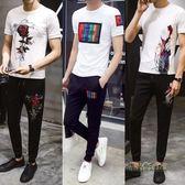 男裝夏季運動休閒套裝社會一套男裝潮流短袖T恤搭配九分褲兩件套 「時尚彩虹屋」